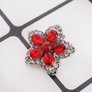 20MM Star snap Antique Silver Plated with red rhinestone KC9065 snaps jewelry