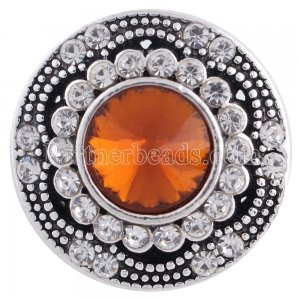 20MM snap round silver plated with brown rhinestones  KC6283 interchangable snaps jewelry