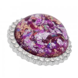 25MM Hand-made Thick glossy round  Amber snap Silver Plated with Rhinestone KC7961 purple