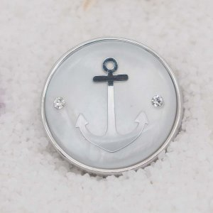 20MM  Anchor shell snap silver Plated  KC9101 snaps jewerly