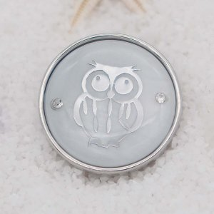 20MM  owl shell snap silver Plated  KC9100 snaps jewerly