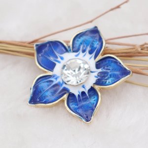 20MM Flowers snap gold Plated with  rhinestone and blue enamel KC6972 snaps jewelry
