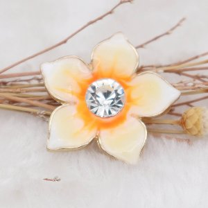 20MM Flowers snap gold Plated with  rhinestone and yellow enamel KC6969 snaps jewelry