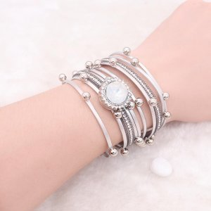 1 buttons gray leather with white rhinestone KC0884 new type Bracelet fit 20mm snaps chunks