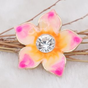 20MM Flowers snap gold Plated with rhinestone and pink enamel KC6971 snaps jewelry