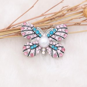 20MM Butterfly snap Silver Plated with pink rhinestone and pearl KC8005 snaps jewelry