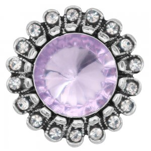 20MM design snap silver Plated with purple rhinestone KC6980 snaps jewelry