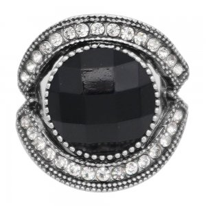 20MM design snap silver Plated with Black rhinestone KC6990 snaps jewelry