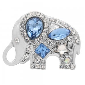 20MM Elephant design snap silver Plated with Blue rhinestone KC8009 snaps jewelry