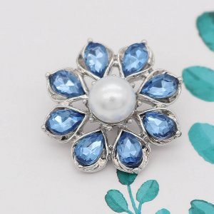 20MM design snap silver Plated with Blue rhinestone KC8006 snaps jewelry