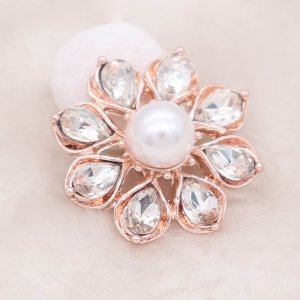 20MM design rose gold snap silver Plated with White rhinestone KC8008 snaps jewelry