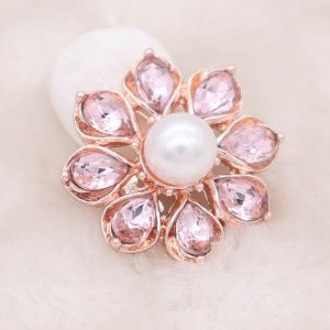 20MM design rose gold snap silver Plated with Pink rhinestone KC8007 snaps jewelry