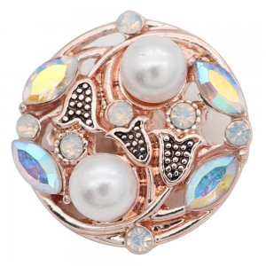 20MM design rose gold snap  with Colorful rhinestone and pearls KC8011 snaps jewelry