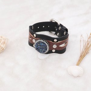 1 buttons  Black and brown leather KC0890 Watch bracelets fit 20MM snaps chunks