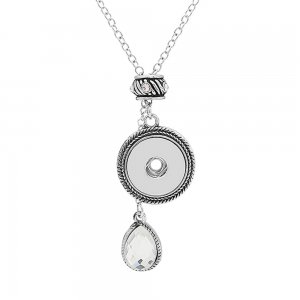 silver pendant Necklace with Large rhinestones 80cm chain KC1311 fit 20MM chunks snaps jewelry