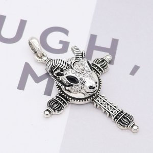 20MM Sheep head snap Silver Plated with White and black rhinestone KC8029 snaps jewelry