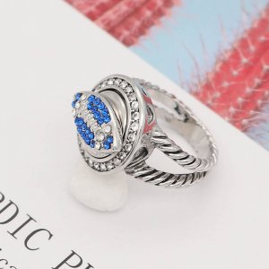 Rugby 12MM snap With Blue Rhinestone KS7055-S interchangable snaps jewelry