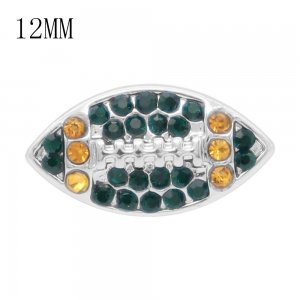 Rugby 12MM snap With Orange and Green Rhinestone KS7057-S interchangable snaps jewelry
