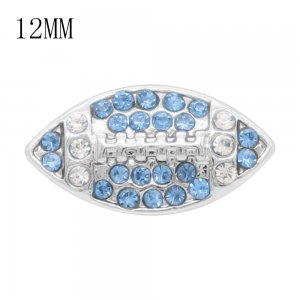 Rugby 12MM snap With Light blue Rhinestone KS7056-S interchangable snaps jewelry