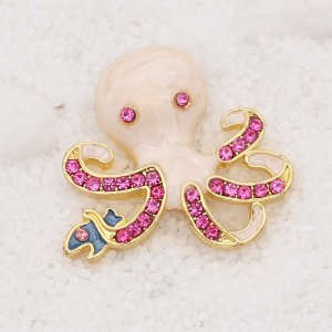 20MM design Octopus rose gold snap With pink rhinestones Plating Enamel KC9111 snaps jewelry
