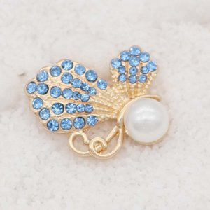 20MM design Butterfly rose gold snap with Blue rhinestone and pearls KC8025 snaps jewelry