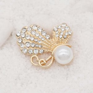 20MM design Butterfly rose gold snap with White  rhinestone and pearls KC8026 snaps jewelry