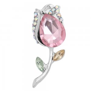 20MM design Rose snap with Pink rhinestone KC6986 snaps jewelry
