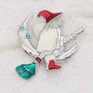 20MM Christmas  design The witch snap With Blue rhinestones Plating Enamel KC9112 snaps jewelry