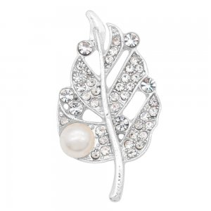 Leaves 20MM  snap Silver Plated with White rhinestone and pearls KC9122  snaps jewelry