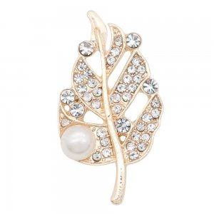Leaves 20MM  snap Gold Plated with White rhinestone and pearls KC9120  snaps jewelry