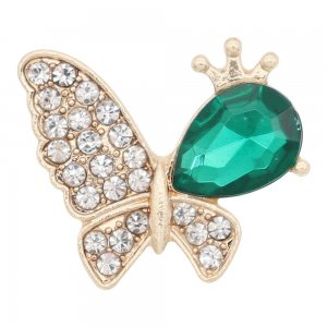 Butterfly 20MM  snap Gold Plated with Green rhinestone KC9133 snaps jewelry