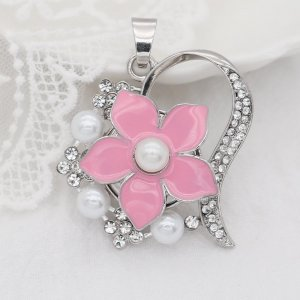 Flowers 20MM  snap Silver Plated  pearls pink Drop oil KC9139  snaps jewelry