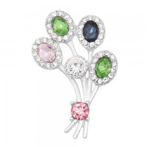 20MM  snap Silver Plated with Green, pink and blue  rhinestone KC9118  snaps jewelry