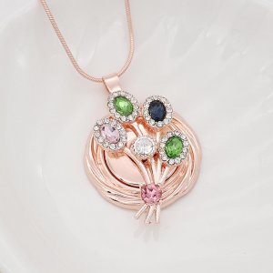 20MM  snap Rose Gold Plated with Green, pink and blue  rhinestone KC9119  snaps jewelry