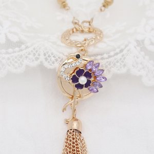 Ostrich 20MM snap gold Plated  With purple rhinestones pearls Drop oil KC9147 snaps jewelry