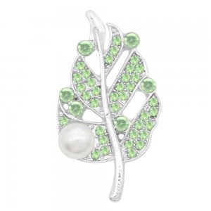 Leaves 20MM  snap Silver Plated with Green rhinestone and pearls KC9124  snaps jewelry