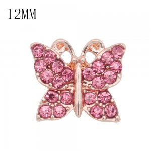12MM design Butterfly rose gold snap with pink  rhinestone KS7074-S snaps jewelry