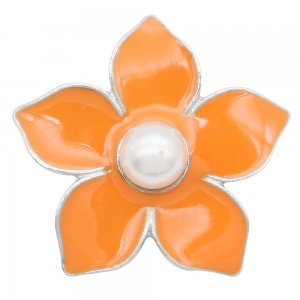 Flowers 20MM  snap Silver Plated  pearls Orange Drop oil KC9142  snaps jewelry