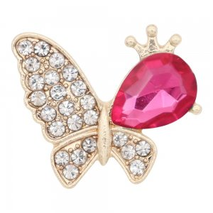 Butterfly 20MM Snap Gold Plated mit rosa Strass KC9132 Snaps Schmuck