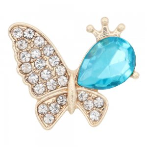 Butterfly 20MM  snap Gold Plated with Blue rhinestone KC9129  snaps jewelry