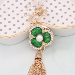 20MM rose-gold plated design Green Flower snap with  rhinestone Pearl KC9150 snaps jewelry