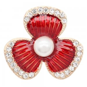 20MM rose-gold plated design Red Flower snap with   rhinestone Pearl  KC9151 snaps jewelry