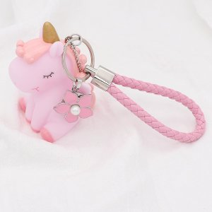 Unicorn PU leather Keychain Keychain with pink button fit snaps chunks KC1220 Snaps Jewelry