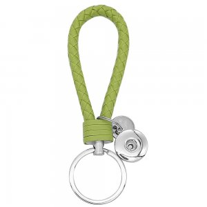 PU leather Keychain Keychain with Green button fit snaps chunks KC1216 Snaps Jewelry