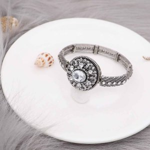 20MM  snap Silver Plated with white rhinestone KC9153 snaps jewelry