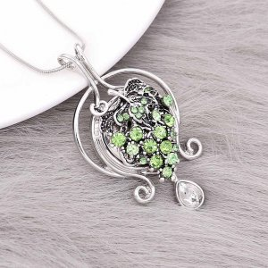 Grape  20MM  snap Silver Plated with Green rhinestone KC9145  snaps jewelry