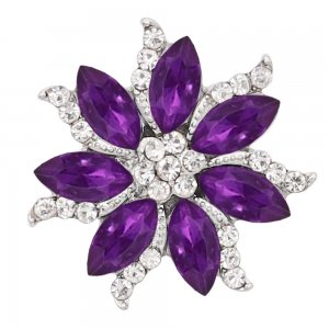 20MM  snap Silver Plated with purple rhinestone KC9164 snaps jewelry