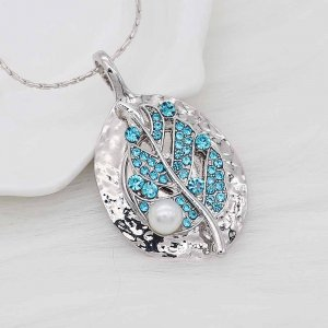 Leaves 20MM  snap Silver Plated with Blue rhinestone and pearls KC9123 Cyan