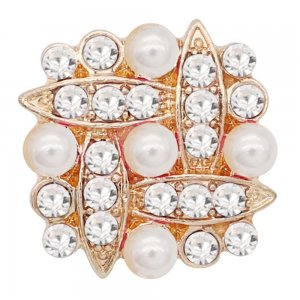 20MM snap gold Plated with white rhinestone and pearl KC9157 snaps jewelry