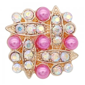 0MM snap gold Plated with rose-red rhinestone and pearl KC9159 pink